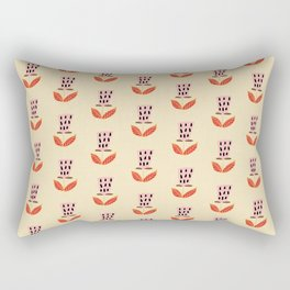 Mid-Century Modern Beige Botanical Pattern Rectangular Pillow