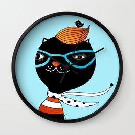 Hipster Cat Wall Clock