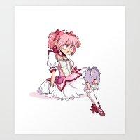 madoka Art Prints featuring Madoka by elixiroverdose