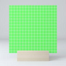 Screamin' Green - green color - White Lines Grid Pattern Mini Art Print