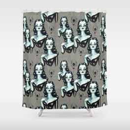 Vampire Vixen with Black Widow Spider Shower Curtain