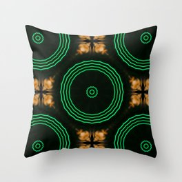 Kaleidoscopic pattern with golden and blue threads Throw Pillow