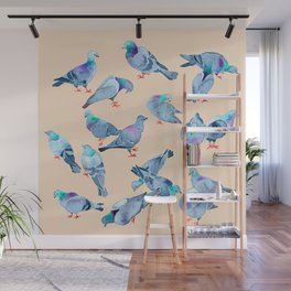 Flock of Pigeons Wall Mural
