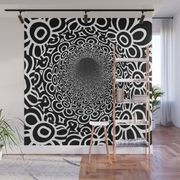 Black and White Floral Tunnel Wall Mural