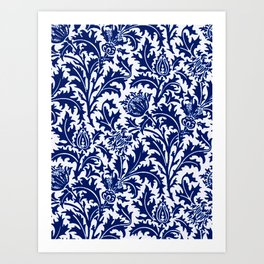 William Morris Thistle Damask, Cobalt Blue & White Kunstdrucke