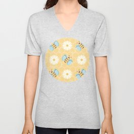Bumble Bees & Daisies Pattern with Honeycomb Background Unisex V-Neck