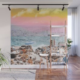 Beach Day, Travel Photography Digital Wall Decor, Tropical Beach Island Collage Wall Mural
