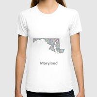 maryland T-shirts featuring Maryland map by David Zydd - Colorful Mandalas & Abstrac