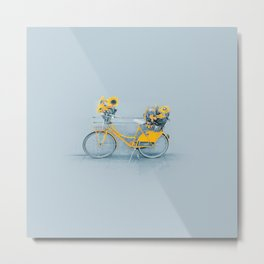Yellow vintage bike with sunflowers Metal Print