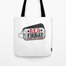 RED Friday For My Mom Military Dog Tags Tote Bag