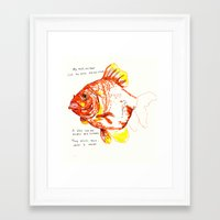 goldfish Framed Art Prints featuring goldfish by withapencilinhand