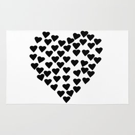 Hearts Heart Black and White Rug