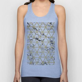 Stylish white marble faux gold glitter triangles pattern Unisex Tank Top