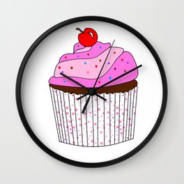 Pink Cupcake With Sprinkles Wall Clock
