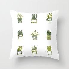 Little Green Plants Throw Pillow