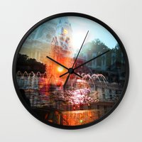 cities Wall Clocks featuring cities by aerart
