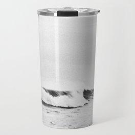 Minimalist Black and White Ocean Wave Photograph Travel Mug