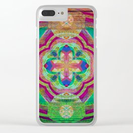 Heart Light Peaceful Wooden Mandala Print Clear iPhone Case