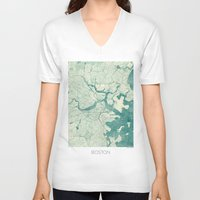 boston V-neck T-shirts featuring Boston Map Blue Vintage by City Art Posters