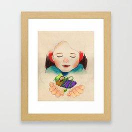 winter boy and fairy Framed Art Print