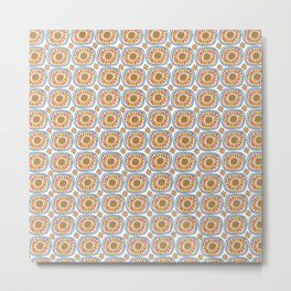 Retro Round Tiles Mexico Daisy White Metal Print