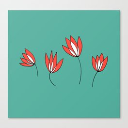 Whimsical Red and Teal Flowers by Emma Freeman Designs Canvas Print