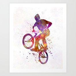 Man bmx acrobatic figure in watercolor Art Print