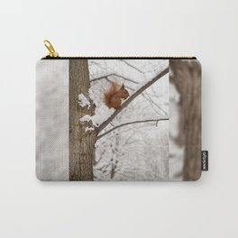 Squirrel sitting on twig in snow Carry-All Pouch