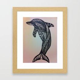 zen dolphin Framed Art Print