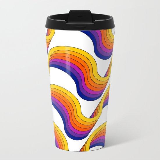 Rainbow Ribbons Metal Travel Mug