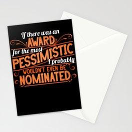 Pessimism Award. Funny Ironic Sarcastic Pessimist Stationery Cards