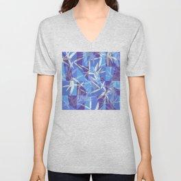 Bamboo in Blue Geometric Pattern Unisex V-Neck