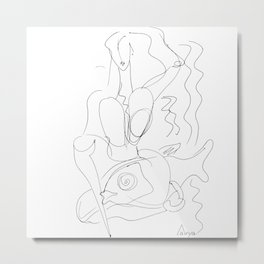 Woman and fish lineart Metal Print