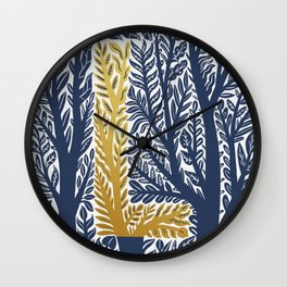 Botanical Metallic Monogram - Letter L Wall Clock