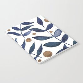 Watercolor berries and branches - indigo and beige Notebook
