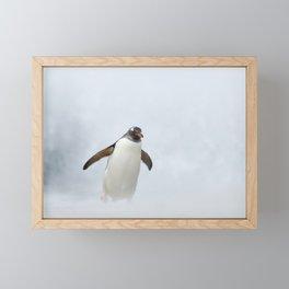 Penguin in a storm Framed Mini Art Print