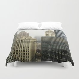 Chicago Buildings in Fog Color Photo Duvet Cover
