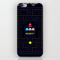 pac man iPhone & iPod Skins featuring Pac Man by Trash Apparel