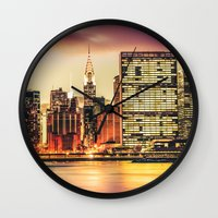 new york city Wall Clocks featuring New York City Skyline by Vivienne Gucwa