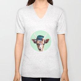 Deer with blue hat Unisex V-Neck