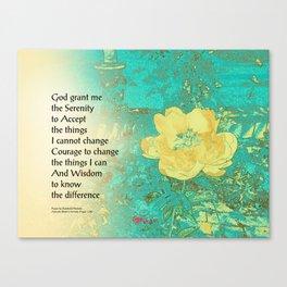 Serenity Prayer Peony Yellow Turquoise Canvas Print