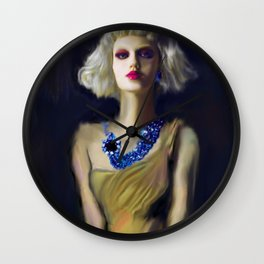 The Girl With The Blue Earring Wall Clock