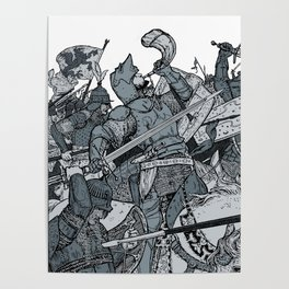 Saturday Knight Special STEEL BLUE / Vintage illustration redrawn and repurposed Poster