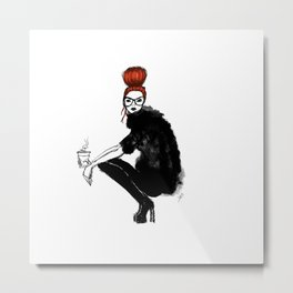 Redhead fashion model Metal Print
