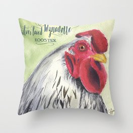 Silver Laced Wyandotte Rooster Throw Pillow