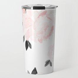 Vintage Blush Floral - BW Travel Mug