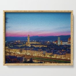 Twilight - Arno River, Florence Italy Landscape by Jeanpaul Ferro Serving Tray