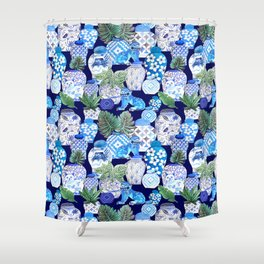 Chinoiserie Blue and white Chinese Ginger Jars and Foo dogs with palm and calathea Shower Curtain