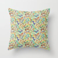 sunglasses Throw Pillows featuring Sunglasses by Laura Barnes