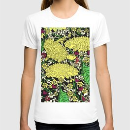 YELLOW & BLACK FLORAL FRIVOLITY FANTASY GARDEN T-shirt